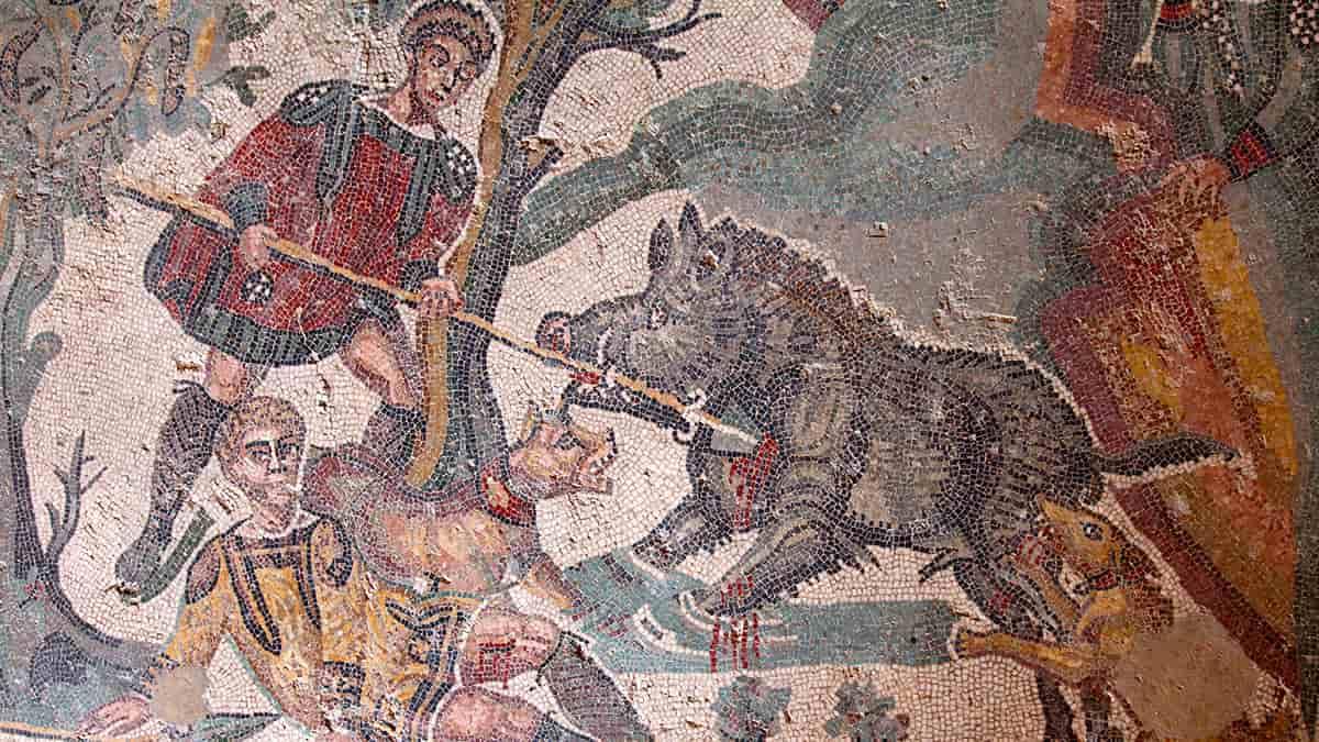 Mosaico della Villa del Casale che ritrae il combattimento tra cacciatori e cinghiali