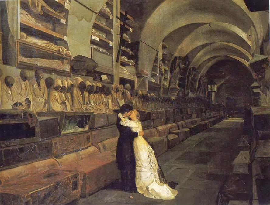 Il famoso quadro siciliano Amore e morte quadro di Calcedonio Reina