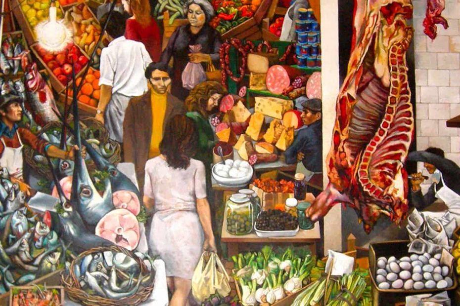 Il famoso quadro siciliano Vucciria del pittore Renato Guttuso