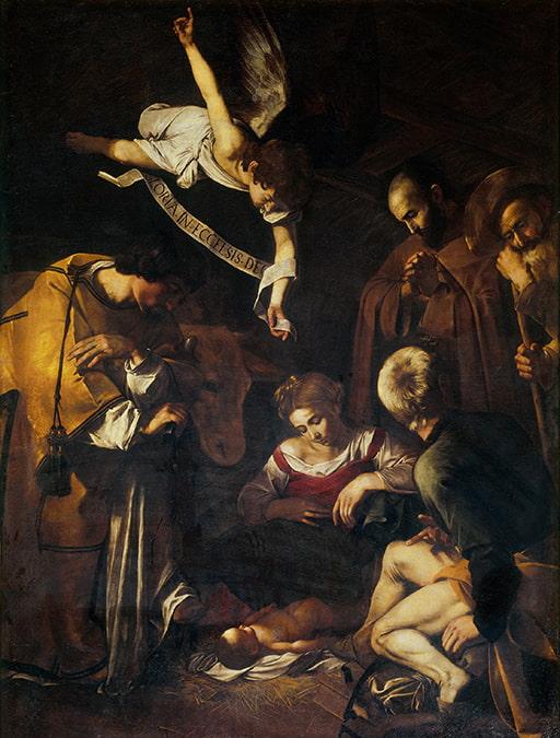 Il famoso quadro di Caravaggio Natività con i Santi Lorenzo e Francesco d'Assisi