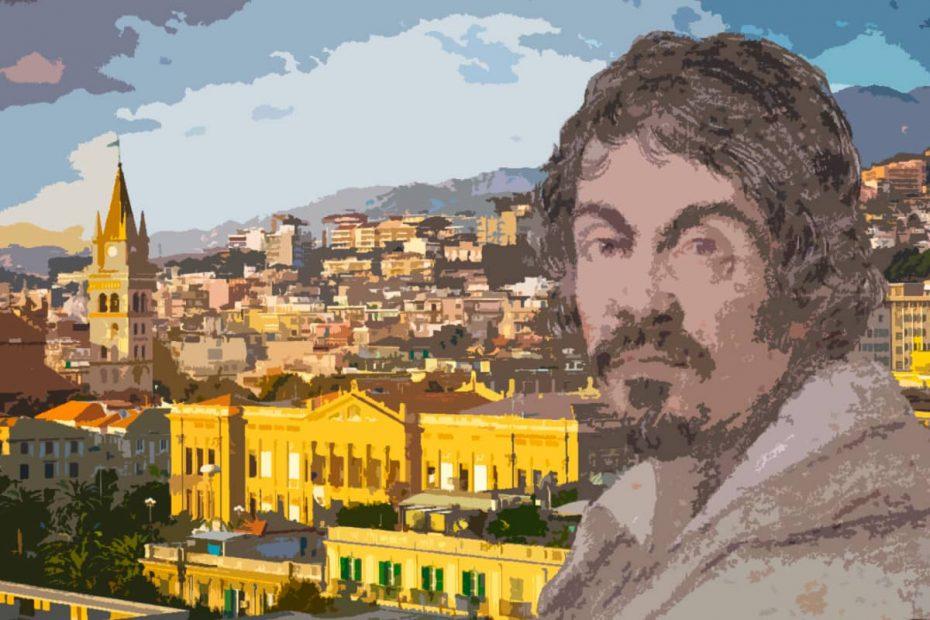 Composizione con il volto di Caravaggio sulla destra e un panorama della città di Messina sullo sfondo