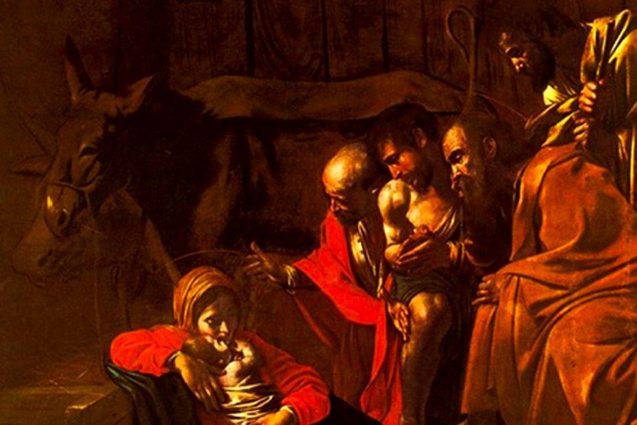 Particolare del quadro Adorazione dei Pastori di Caravaggio conservato al Museo Regionale di Messina