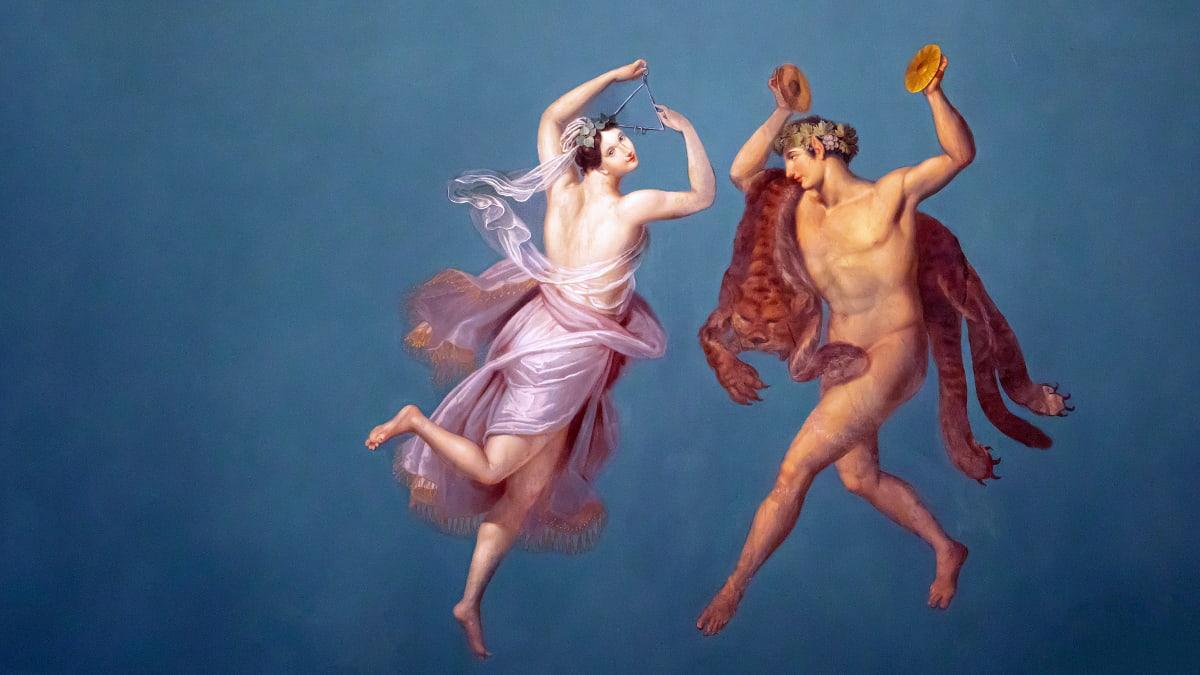 Uno degli affreschi nella Sala Pompeiana del Palazzo dei Normanni