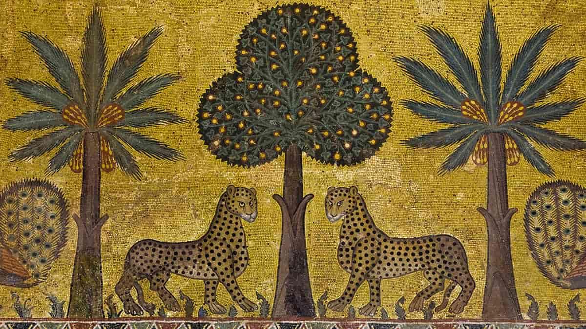 Mosaico con due leopardi nella Sala di Ruggero del Palazzo dei Normanni di Palermo